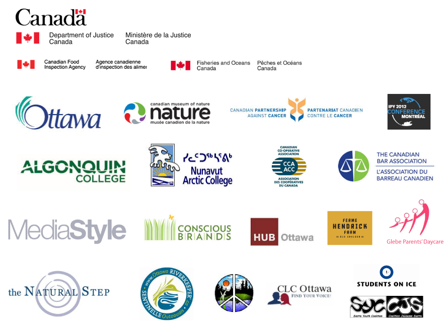 Government of Canada, City of Ottawa, canadian museum of nature, canadian partnership against cancer, algonquin college...